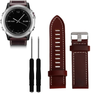 Genuine Leather Watch Band per Garmin Fenix ​​3 con cacciavite - marrone scuro