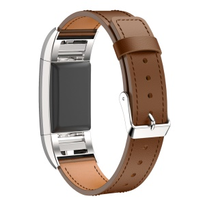 For Fitbit Charge 2 Watch Band Replacement Genuine Leather Material - Brown