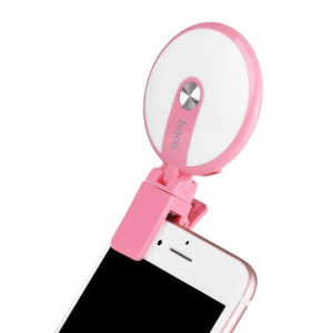 HOCO HM1 Dimmable Selfie Spotlight LED Light Compensation for iPhone Samsung etc. - Pink