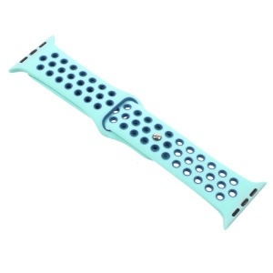 Hollow-out Silicone Watchband Wrist Strap for Apple Watch Series 2 Series 1 42mm - Cyan