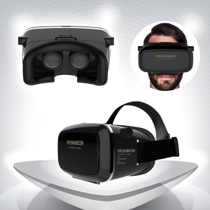 VR SHINECON Plus Virtual Reality VR 3D Glasses Video Movie Game Headset - Black