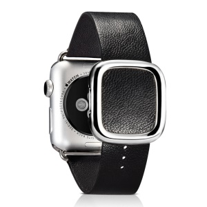 XOOMZ Lambskin Leather Watch Band with Magnetic Buckle for Apple Watch Series 2 Series 1 38mm - Black