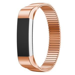Luxury Style Elastic Stainless Steel Watch Band Strap for Fitbit Alta - Rose Gold