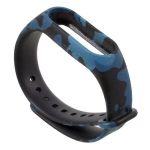 Patterned Flexible TPU Wrist Strap Band for Xiaomi Mi Band 2 - Blue Camouflage