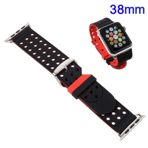 Hollow Dots Soft Silicone Watch Band with Connector for 38mm Apple Watch Series 2 Series 1 - Red / Black