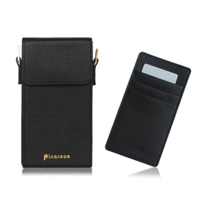 PINACEAE Leather Mini Handbag Universal Cellphone Pouch, Size: 17x9.3x3.25cm for Samsung S8 etc. - Black