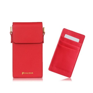 PINACEAE Mini Leather Handbag Crossbody Bag Phone Pouch Purse, Size: 17x9.3x3.25cm for Samsung S8 etc. - Red
