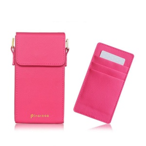 PINACEAE Women's Crossbody Single Shoulder Bag Universal Leather Pouch, Size: 17x9.3x3.25cm for Samsung S8 etc. - Rose