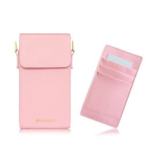 PINACEAE Litchi Texture Leather Pouch Cellphone Pouch Purse with Removable Card Slots, Size: 17x9.3x3.25cm - Pink