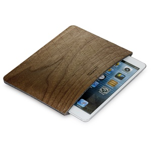 SAMDI Walnut Wood Skin Wool Felt Tablet Pouch for iPad mini 4 / 3 / 2 / 1 - Walnut
