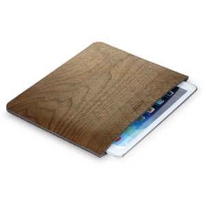 SAMDI Walnut Wood Skin Wool Felt Sleeve Pouch Bag for iPad 3 / 2 / 1, iPad 9.7 inch Etc. - Walnut