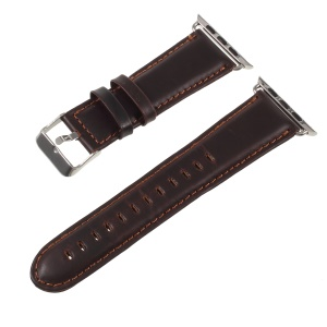 Vintage Crazy Horse Leather Watch Strap with Lugs Adapters for Apple Watch Series 5 4 40mm / Series 3 2 1 38mm - Coffee