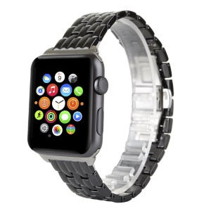 Butterfly Buckle Ceramic Bracelet Watch Band for Apple Watch 42mm Series 1 Series 2 - Black