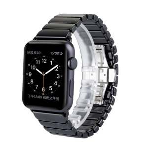 Butterfly Buckle Ceramic Watch Band Bracelet for Apple Watch 38mm Series 3 Series 1 Series 2 - Black