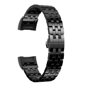 Butterfly Buckle Ceramic Bracelet Watch Band Strap with Lugs Adapters for Fitbit Charge 2 - Black