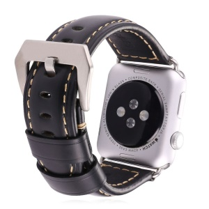Crazy Horse Genuine Leather Hand-made Watch Band for Apple Watch 42mm Series 3 2 1 - Black