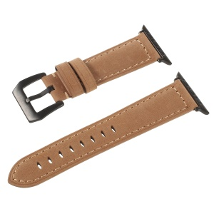 Matte Skin Genuine Leather Hand-made Watchband Strap for Apple Watch Series 5 4 44mm / Series 3 2 1 42mm - Khaki