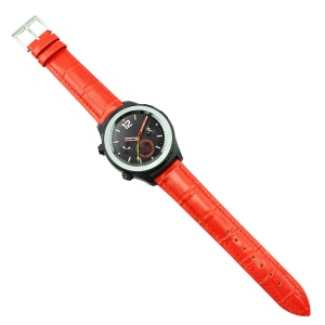 Crocodile Texture Genuine Leather Watch Bracelet Band for Huawei Watch 2 - Red