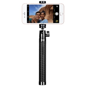 "MOMAX Selfie Pro Leather Extendable Bluetooth Selfie Stick Monopod with 1/4"" Screw for Phones, Gopro and Cameras - Black"