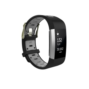Bi-color Soft Silicone Watch Strap Replacement for Fitbit Charge 2 - Black + Grey