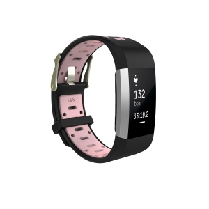 Soft Silicone Bi-color Watch Band for Fitbit Charge 2 - Black + Pink