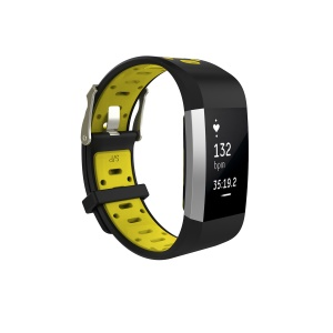 Bi-color Soft Silicone Watch Band Replacement for Fitbit Charge 2 - Black + Yellowgreen