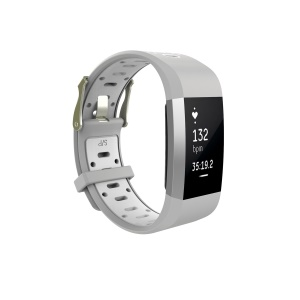 Soft Silicone Bi-color Watch Wrist Strap for Fitbit Charge 2 - Grey + White