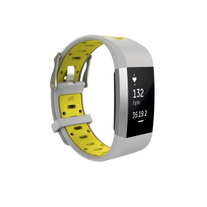 Soft Silicone Dual Color Watch Wrist Band for Fitbit Charge 2 - Grey + Yellowgreen