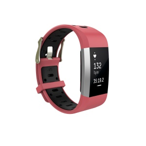 Dual-color Soft Silicone Smartwatch Strap Replacement for Fitbit Charge 2 - Red + Black