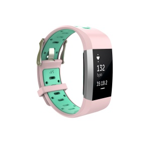 Dual-color Soft Silicone Smartwatch Band Replacement for Fitbit Charge 2 - Pink + Cyan