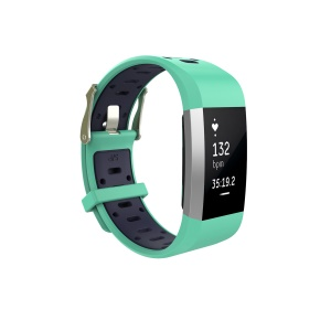 Bi-color Flexible Silicone Watch Strap for Fitbit Charge 2 - Green + Dark Blue