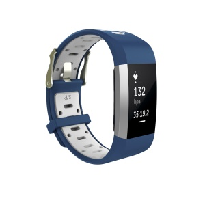 Bi-color Flexible Silicone Watch Band for Fitbit Charge 2 - Blue + White