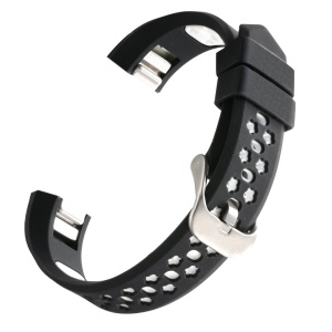 Dual-color Hollow Silicone Watch Band Strap for Fitbit Alta HR / Fitbit Alta - Black + White
