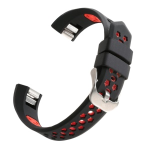 Bi-color Hollow Silicone Watchband Wrist Strap for Fitbit Alta HR / Fitbit Alta - Black + Red