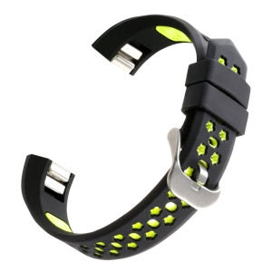Dual-color Hollow Silicone Watchband Bracelet for Fitbit Alta HR / Fitbit Alta - Black + Green