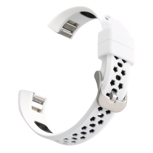 Bi-color Hollow Silicone Watchband Replacement for Fitbit Alta HR / Fitbit Alta - White + Black
