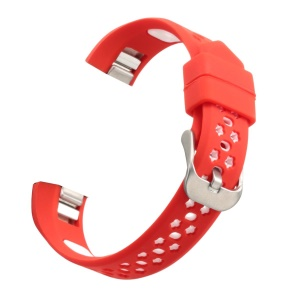 Bi-color Hollow-out Silicone Watchband Strap with Classic Buckle for Fitbit Alta HR / Fitbit Alta - Red + White