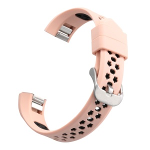 Dual-color Hollow-out Silicone Watchband Wrist Strap for Fitbit Alta HR / Fitbit Alta - Pink + Black