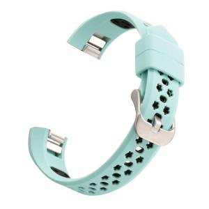 Dual-color Hollow-out Silicone Bracelet Watchband Strap for Fitbit Alta HR / Fitbit Alta - Cyan + Black