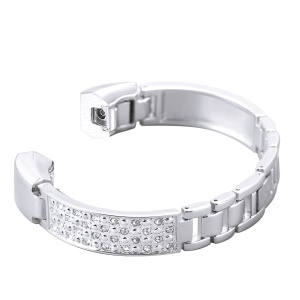 Diamond Shapes Decor Stainless Steel Watch Band Strap for Fitbit Alta HR / Fitbit Alta - Silver Color