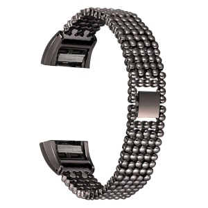 5 Beads Stainless Steel Watch Band Replacement for Fitbit Charge 2 - Black