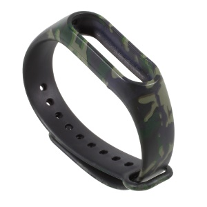 Camouflage Pattern Silicone Watch Band Replacement for Xiaomi Mi Band 2 - Green