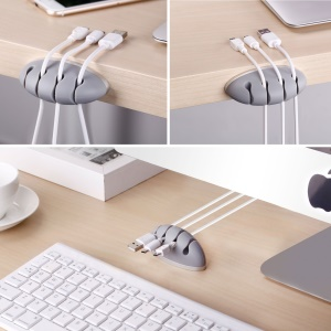 4 Grooves Aluminum Silicone Data Cable Audio Cable Organizer - Grey