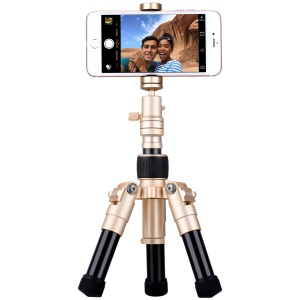 "MOMAX Tripod Pro 5 Extendable Camera Tripod Monopod Stand with 360 Degree Ball Head + 1/4"" Quick Release - Gold Color"