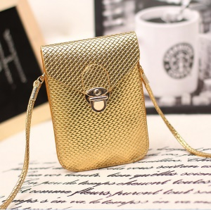 Mini Leather Crossbody Bag with Woven Texture for iPhone 7 Plus/ Samsung S8 etc., Size: 115 x 165mm - Gold