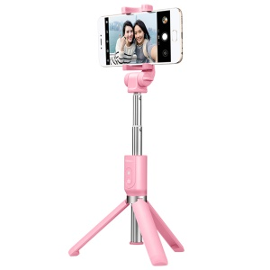 MEIZU Foldable Tripod Monopod Selfie Stick with Bluetooth Shutter for iPhone Samsung - Pink