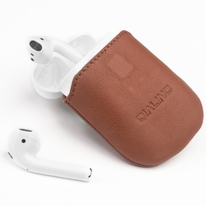 QIALINO Top-Layer Cowhide Leather Protective Pouch Bag for Apple Airpods Charging Case - Brown