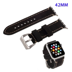 For Apple Watch Series 4 44mm / Apple Watch Series 4 44mm, Series 3 / 2 / 1 42mm PU Leather Buckle Replacement Wristband - Black