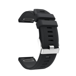 Rhombus Texture Soft Silicone Watch Band for Garmin Forerunner 935 - Black
