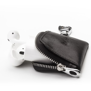 QIALINO Cowhide Leather for Apple Airpods Earphone Storage Bag - Black